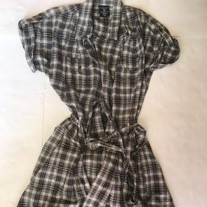Faded glory striped button up plaid dress size S